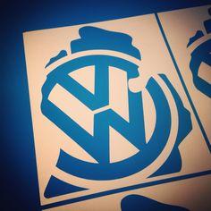 VW / MICHIGAN decal - State of Michigan design with Volkswagen VW logo - beetle, golf, gti, jetta, passat