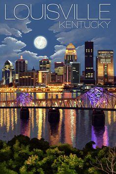 Louisville, Kentucky - Skyline at Night - Lantern Press Poster