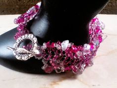dark pink and crystal beaded cuff bracelet lacy herringbone by lookinglassmosaics on Etsy