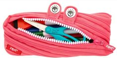 Zipit® Monster Pouch Pencil Bag Made from Zipper -Hot Pink Pencil Bags, Pencil Pouch, Office Storage, Wall Storage, Cute Monsters, Desk Accessories, Bright Pink, How To Introduce Yourself, Hot Pink