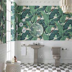 New White Brick Wallpaper Bathroom Subway Tiles 37 Ideas Tropical Bathroom, Tropical Home Decor, Tropical Furniture, Tropical Interior, Palm Wallpaper, Brick Wallpaper, Tropical Wallpaper, Forest Wallpaper, Bathroom Interior Design