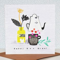 Happy New Home, greeting card, design, illustration, lettering, drawing, colour, pattern