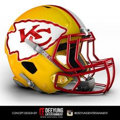 These 32 NFL Helmet Concept Designs Are Definitely Bold, Cool and Futuristic - Spikey Cool Football Helmets, Nfl Football Players, Sports Helmet, Football Lines, Football Football, Nba Basketball, Hockey, Baseball, Kansas City Chiefs Football