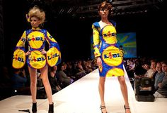 dresses made out of Lidl bags...lovely