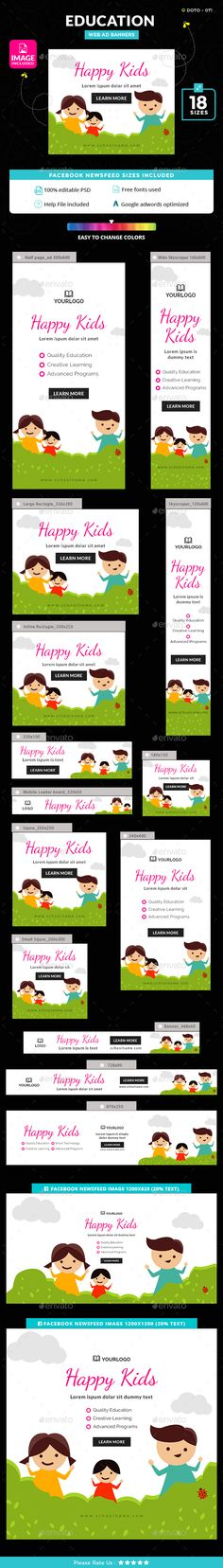 Education Banners Template PSD