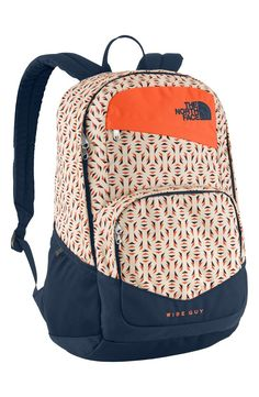 The North Face Wise Guy Backpack - in Orange Rust Tribal Tribute Print North Face Bag, North Face Backpack, The North Face, North Faces, North Face Women, Cute Backpacks For School, Cool Backpacks, College Backpacks, Teen Backpacks