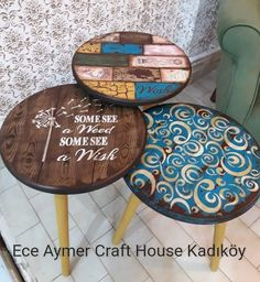 ahsap Decoupage Wood, Decoupage Furniture, Funky Furniture, Recycled Furniture, Paint Furniture, Furniture Projects, Furniture Makeover, Painted Bar Stools, Painted Chairs