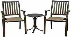 Panama Jack Outdoor Island Breeze 3-Piece Slatted Balcony Group Set, Includes 2 Armchairs and 24-Inch End Table Aluminum Slatted Table