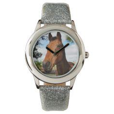 Horse_Delight,_Girls_Silver_Glitter_Watch. Wristwatch