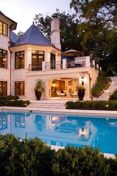 Backyard, pool, lighting