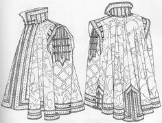 "Manga Drawing Patterns ""Conjectured appearance of the cloak with sleeves worn by don Garzia. The drawing was done from a toile made out of the pattern shapes onto which the damask had been traced. All the details were drawn directly from the original. Renaissance Costume, Renaissance Men, Medieval Costume, Renaissance Clothing, Italian Renaissance, Elizabethan Costume, Medieval Gown, Medieval Knight, Historical Costume"