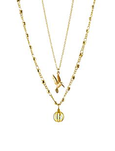 More gorgeous gold necklaces for women. love this 22 carat gold-plated double-chain necklace featuring semi-precious gemstones and hummingbird. Gold Necklaces, Handmade Necklaces, 22 Carat Gold, Double Chain, Necklace Online, Name Necklace, Semi Precious Gemstones, Hummingbird, Special Gifts