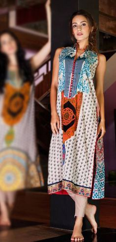 Off-white/Turquoise Cotton Lawn Kurti $68.99 DESIGNER KURTI Pakistani Indian Dresses Online, Men Women Clothing and Shoes   PakRobe.com
