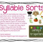 There are 10 different syllable sorting activities, one for each month of the school year, highlighting words for special holidays in that month....