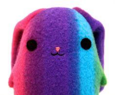 ♥STUF♥ 66 Rainbow stuffed animals | ... plush bunny, striped blue, purple, pink, green, stuffed animal Muser
