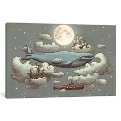 iCanvas Ocean (Blue) Meets Sky #1 Gallery Wrapped Canvas Art Print by Terry Fan