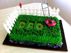 Father's Day lawn mower cake.  Or for Josh with lawn mowing business!