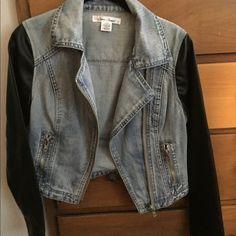 Jean jacket Black sleeves, jean jacket! Nordstrom Jackets & Coats Jean Jackets