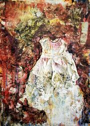 Toby Penney- White Memory, Mixed media with reclaimed fabric & fibers on canvas, 26 x 36 inches