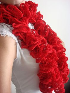 Handmade Knitting Red Scarf Ruffle scarf by karmasaccessories Cute Scarfs, Ruffle Scarf, Red Scarves, Hand Knitting, What To Wear, Etsy Seller, Valentines, Fancy, Red Christmas