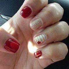Uñas color rojo con dorado – 20 Ideas geniales | Decoración de Uñas - Manicura y Nail Art