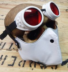 STEAMPUNK MASK - 2 pc. set of White Steampunk Dust Riding Mask with Matching Steampunk Goggles - Burning Man Mask by jadedminx on Etsy