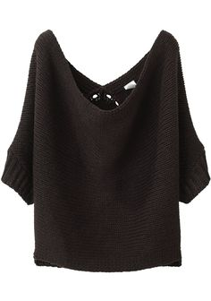 "The relaxed ""drape-iness"" of summer done in a chunky knit for fall.  VPL Cropped Dolman Sweater, $345."