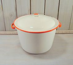 Rustic Midwest Farmhouse Decor in 1940's | ... White & Red Enamelware, Large Stock Pot, Rustic Farmhouse Decor 20.00