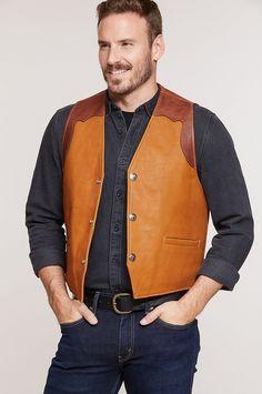 Garrison Bison Leather Vest with Concealed Carry Pockets Mens Leather Blazer, Leather Jacket, Vest Jacket, Vest Men, Concealed Carry, Casual Outfits, Mens Fashion, Cafe Uniform, Catalog
