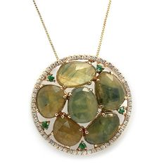 Green Sapphire Slice Necklace with Pave Diamonds, 14k Yellow Gold – BelAir Jewelry
