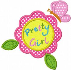 Pretty Girl Flower  Applique Machine by JoyousEmbroidery on Etsy, $2.99