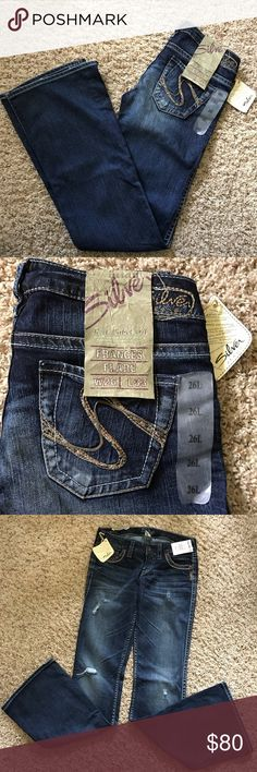 Silver Flare Jeans Size 26/33 Silver brand flare jeans.  Dark blue.  Purchased from Buckle.  Flare bottom.  Size 26 width 33 length.  Brand new.  Never worn.  Tag attached. Silver Jeans Jeans Flare & Wide Leg