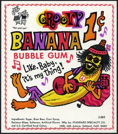 60's. Candy Machine Vending Insert Card - Standard Specialty Co - Groovy Banana bubble gum.