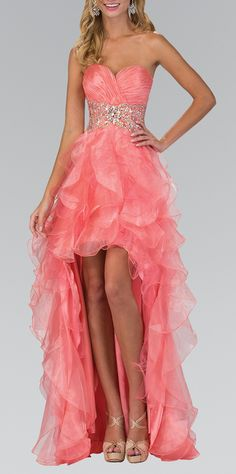 Coral Pink Ruched Sweetheart High Low Dress