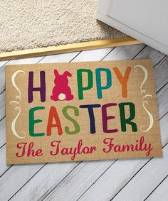 Happy Easter Personalized door mat #ad #easter #easterideas #easterdecorations #easterdecor
