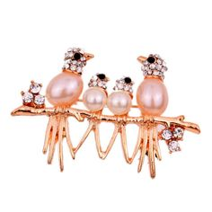 Nice-Jewelry-Four-Bird-Stand-On-Branch-Rhinestone-Inlay-Pearl-Golden-Brooch-Lady