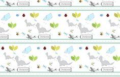 Dino Friends stripe-small personalized-ed fabric by drapestudio on Spoonflower - custom find it here:  fabrichttp://www.spoonflower.com/designs/3525230