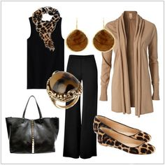 CHATA'S DAILY TIP: This is a perfect example of how two stunning basic colours (stone and black) mix perfectly. The stone cardi-jacket is at the right length to hide wider hips or a fuller bottom. Replace the wider pants for tapered pants if you have a fuller figure. Step into animal printed pumps and pair with an animal printed scarf to pull the look together. Chata Romano Image Consultant, Liza Spammer http://chataromano.com/consultant/liza-spammer/ IMAGE CREDIT: Pinterest