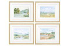 Cotswald Watercolor, Set of 4