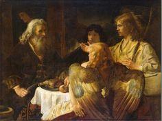 Abraham and the Three Angels, Rembrandt van Rijn