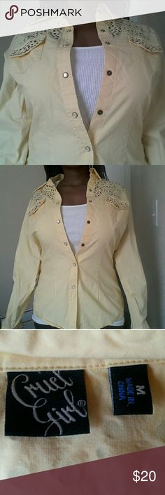 Cruel Girl Yellow Button- Up Top This is a yellow button-up top from Cruel Girl. This top is in great condition!  Feel free to make an offer! No trades. Please don't advertise your closet. Cruel Girl Tops