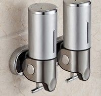 1000ML Stainless Steel Soap Dispenser Lotion Pump with T-bar Handle Wall Mounted Dual Shampoo Box