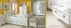 Bett mit vier Schubladen im Landhausstil - Antik weiß (leicht vanillefarben) - www.massiv-aus-holz.de