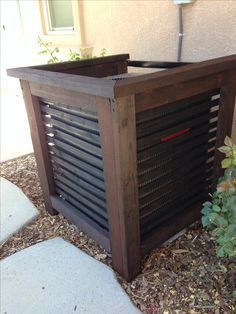 My Shed Plans - Air-conditioner unit cover by margarett - Now You Can Build ANY Shed In A Weekend Even If You've Zero Woodworking Experience! Backyard Projects, Outdoor Projects, Backyard Patio, Backyard Landscaping, Home Projects, Landscaping Ideas, Backyard Ideas, Patio Ideas, Outdoor Living