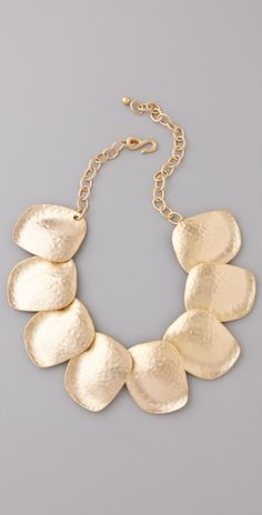 Kenneth Jay Lane    Hammered Flat Disc Necklace