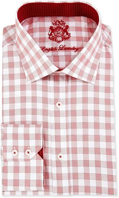 English Laundry Glen Plaid Woven Dress Shirt, Red