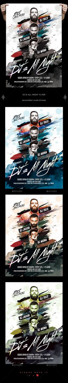 Dj's All Night Flyer  — PSD Template #futuristic #music • Download ➝ https://graphicriver.net/item/djs-all-night-flyer/18468289?ref=pxcr