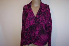 Shirt Top Blouse Size Xl GLO High Low Front Wrapped Sheer Purple Black Studded #GLO #Blouse #Casual