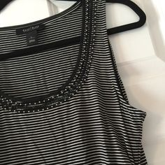 WHBM Tank with beading WHBM white and black stripe tank with side gathers. Beading across the top non missing excellent condition like new. Smoke Free. No Trades. White House Black Market Tops Tank Tops