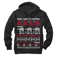 eb0d94e31fbc53 Star Wars Ugly Christmas Sweater Mens Graphic Lightweight Zip Hoodie    Price   39